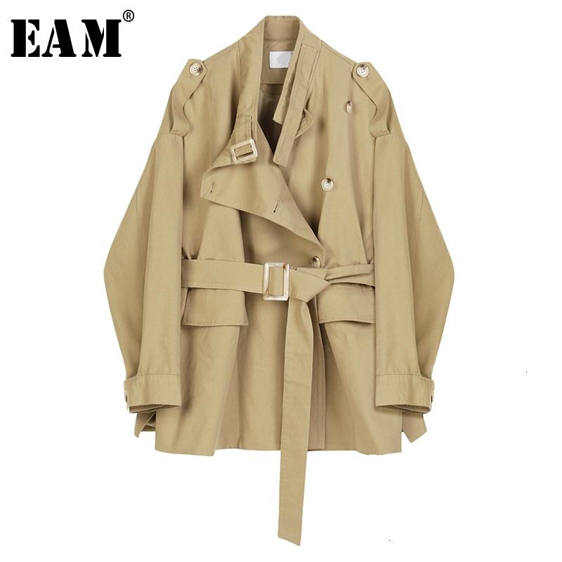 [EAM] Loose Fit Khaki Bandage Stitch Big Size Jacket New Stand Collar Long Sleeve Women Coat Fashion Spring Autumn 2020 1D361
