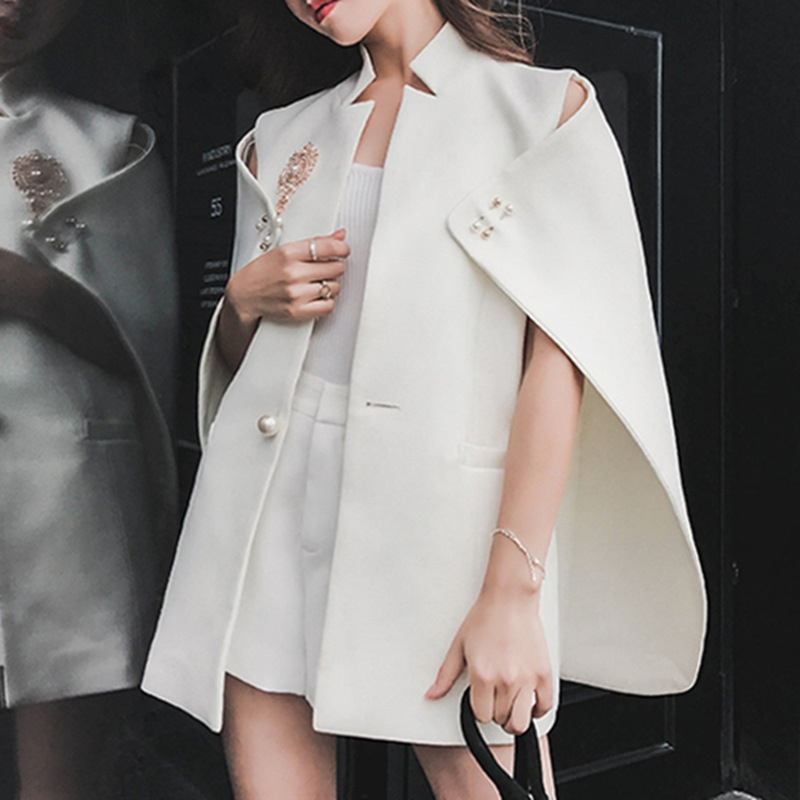 DEAT 2020 New Spring Summer Stand Collar Solid Color Single Button Blazer Women Vintage Loose Temperament Fashion Shawl PD839
