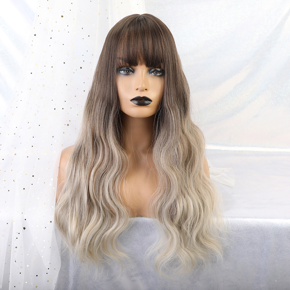 TINY LANA Synthetic Long Body Natural Hair Wigs With Bangs For Black Women Ombre Brown Blonde Wavy Wigs African American