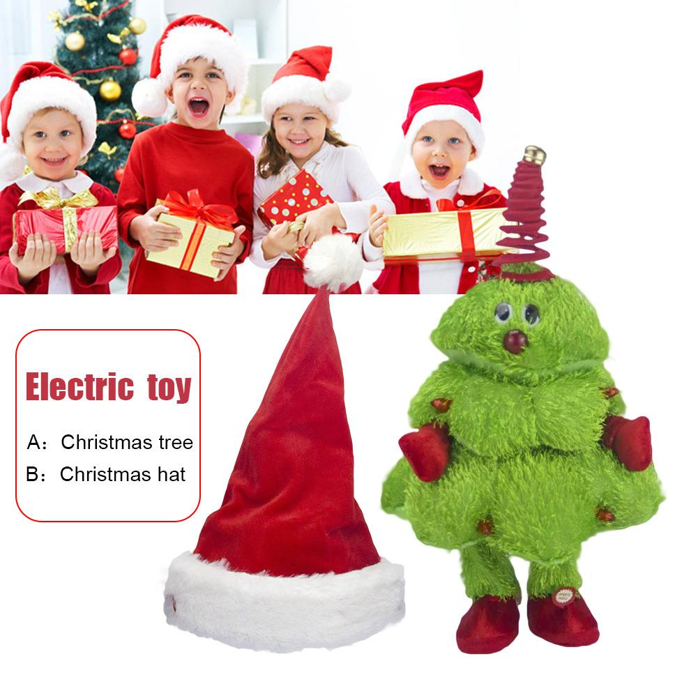 Children's Electric Toy Electric Singing And Dancing Christmas Tree Moving Christmas Hat Kids Toy For Kids Christmas Present