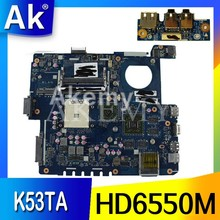 Placa base AK usb + LA-7552P REV: 1,0 para ordenador portátil ASUS K53TA K53TK K53T K53 placa base original de prueba 1GB tarjeta de vídeo HD6550M(China)