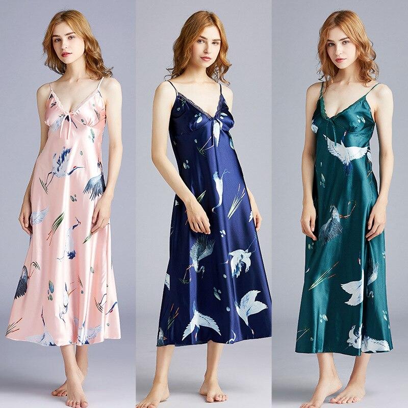 Nightwear Party-Nightgowns Silk V-Neck Sexy Satin Sleep Elegant Summer Long Slim FZSLCYIYI