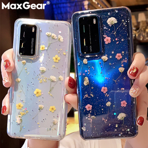 Pressed Real Dry Flowers Glitter Clear Case For Samsung Galaxy S20 Ultra S10 S9 S8 S Note 10 Plus A71 A51 A50 A70 A40 Soft Cover