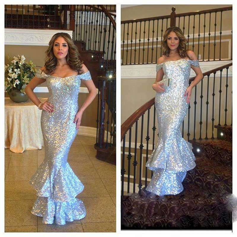 Evening     Dress   Silver Sequin Boat Neck Mermaid Sexy Gowns Formal Party   Dress     Evening   Gowns
