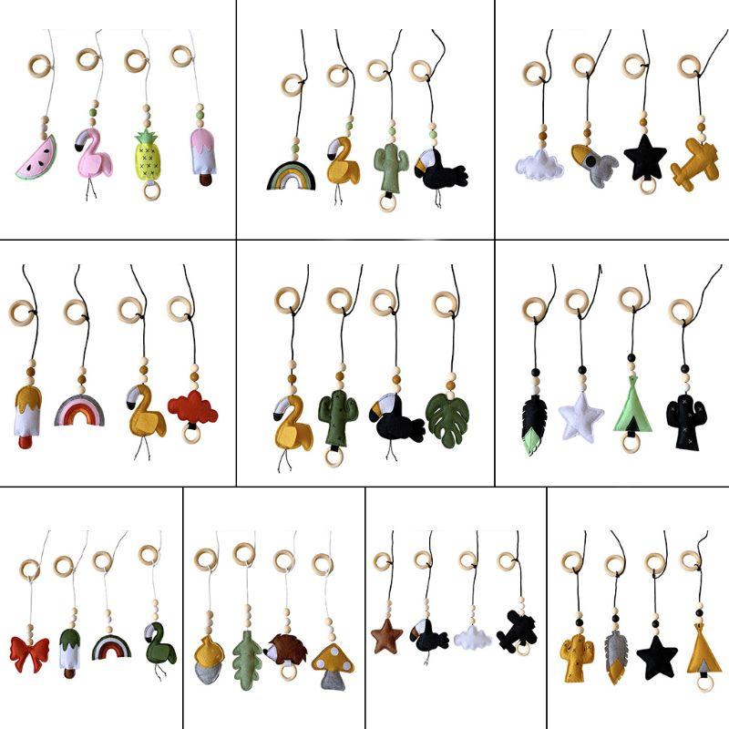 4Pcs/set Solid Wood Fitness Rack Pendant Children Room Decoration Infants Baby Gym Toy Hanging Ornaments