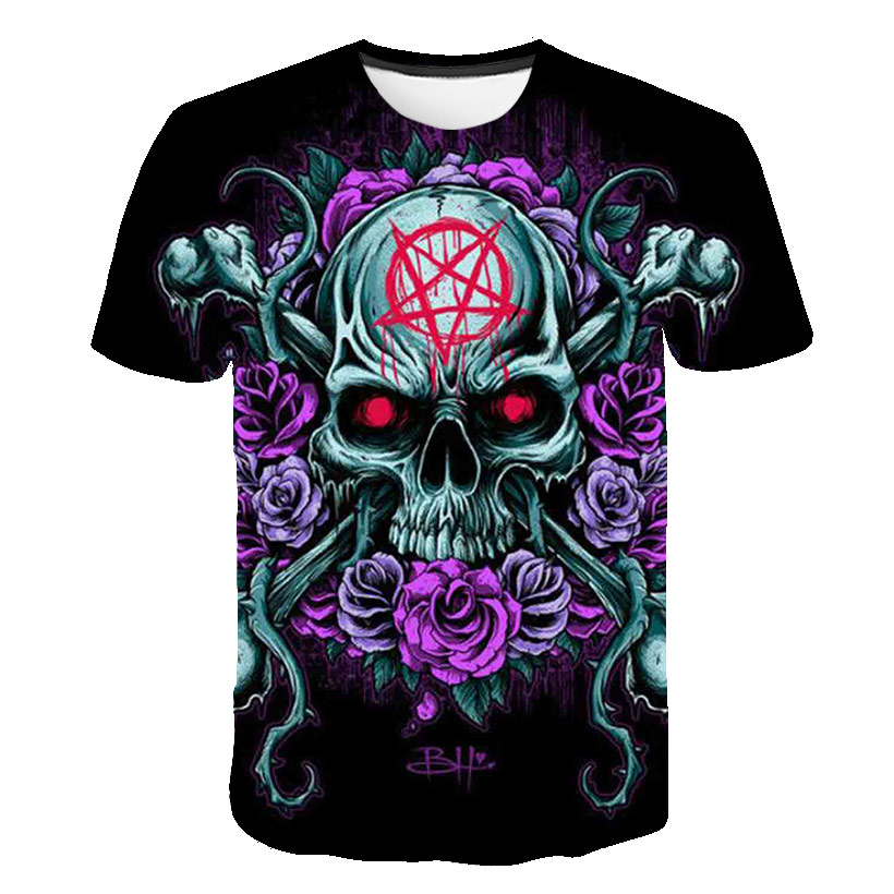 BZPOVB Skull Tshirt Men T-shirt Punk Rock Clothes Gothic 3d Print Harajuku T Shirt Cool Hip Hop Mens Clothing Streetwea