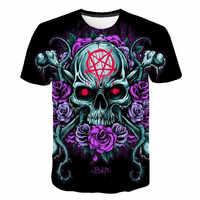 BZPOVB calavera Camiseta Hombre camiseta Punk Rock ropa gótica 3d estampado harajuku camiseta Cool Hip Hop ropa para hombre Streetwea
