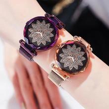 Fashion Women Flower Rhinestone Round Dial Mesh Band Analog Quartz Wrist