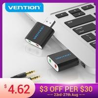 Vention-tarjeta de sonido USB, adaptador de interfaz de Audio, tarjeta de sonido para micrófono, altavoz, portátil, PS4, ordenador, tarjeta de sonido externa