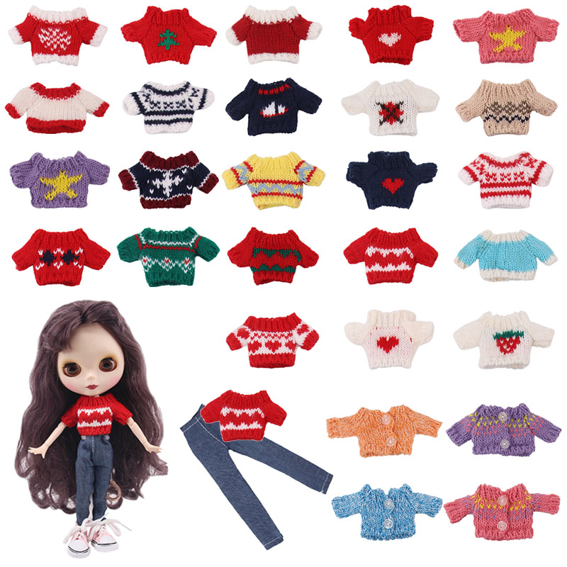 Lucky Doll <font><b>Clothes</b></font> Set=1Sweater+1Jeans For 30cm One-Sixth <font><b>BJD</b></font> Doll Toy,Our Generation Birthday Girl's Toy Gifts image