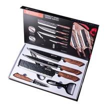 6 uds Juego de cuchillos de cocina forjado a mano cuchillo de cocina tijeras de cerámica pelador Chef cortador cuchillo como un regalo