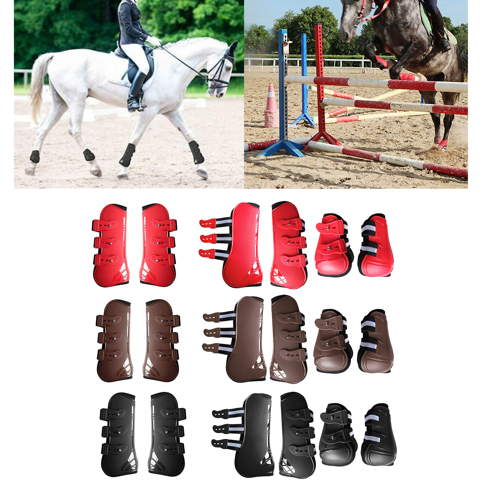 Horse Tendon Boot Horse PU Shell Neoprene Lined Front/Rear Leg Boots Sets Horse Bell Boots Legs Equine Protective Gear