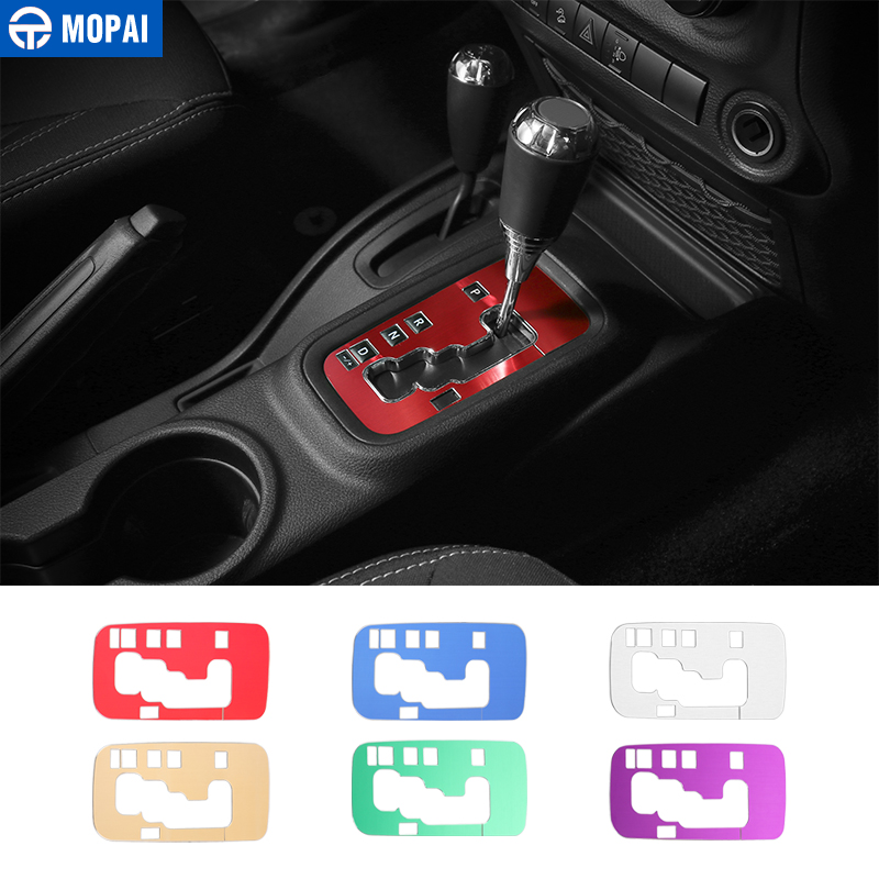 MOPAI Aluminium Interior Gear Shift Panel Decoration Cover Trim Stickers for Jeep Wrangler JK 2011 Up Car Accessories Styling