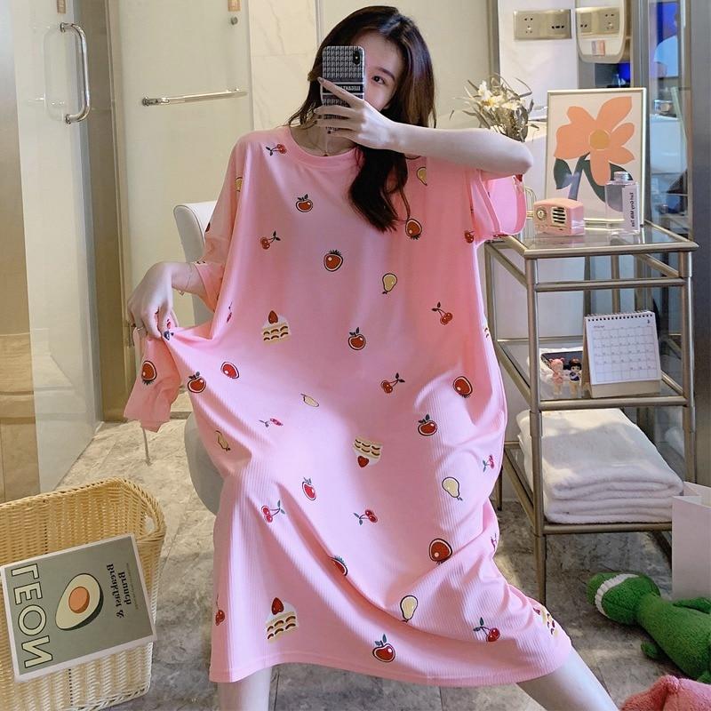 2020 verão plus size manga curta impressão camisas de noite vestido longo para as mulheres loose sleepwear feminino casa vestido noite