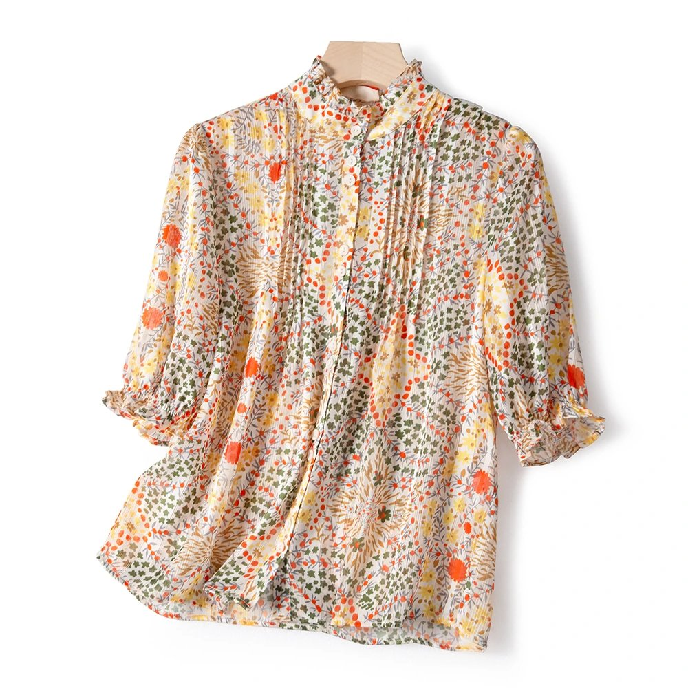 2020 Summer New Women Blouse Luxury Floral Print Short Ruffled Sleeve Single-breasted Pleated Shirt