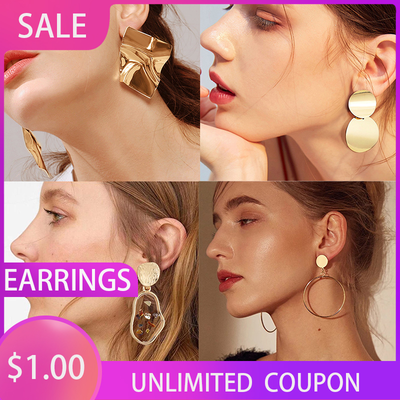 New Korean Statement Drop Earrings 2020 For Women Girl Fashion Vintage Geometric Acrylic Dangle Hanging Earring Jewelry