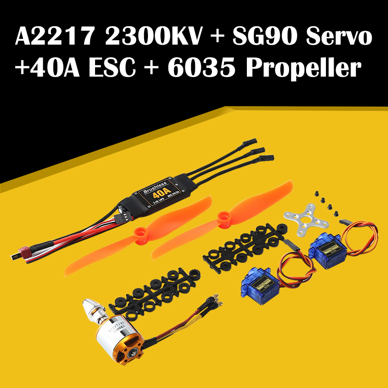 Hot Sale A2217 2300KV Brushless Motor 40A ESC SG90 9G Micro Servo <font><b>6035</b></font> <font><b>Propeller</b></font> Power System Combo Set for RC Plane Helicopter image