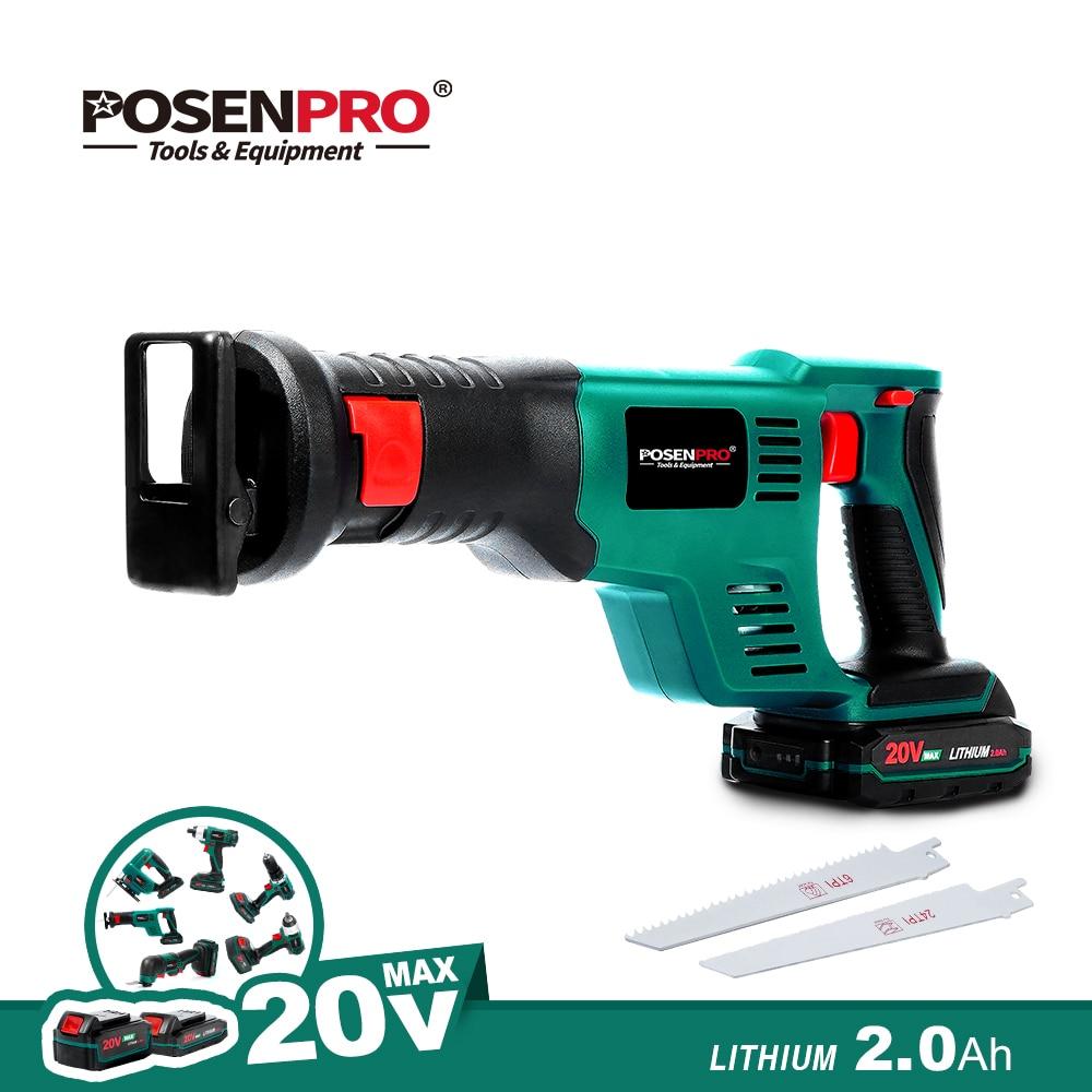 POSENPRO 20V Cordless Electric Saw Reciprocating Saw 2.0Ah Li-ion Kit Multi-Function Tool Jig Saw Oscillating Tool