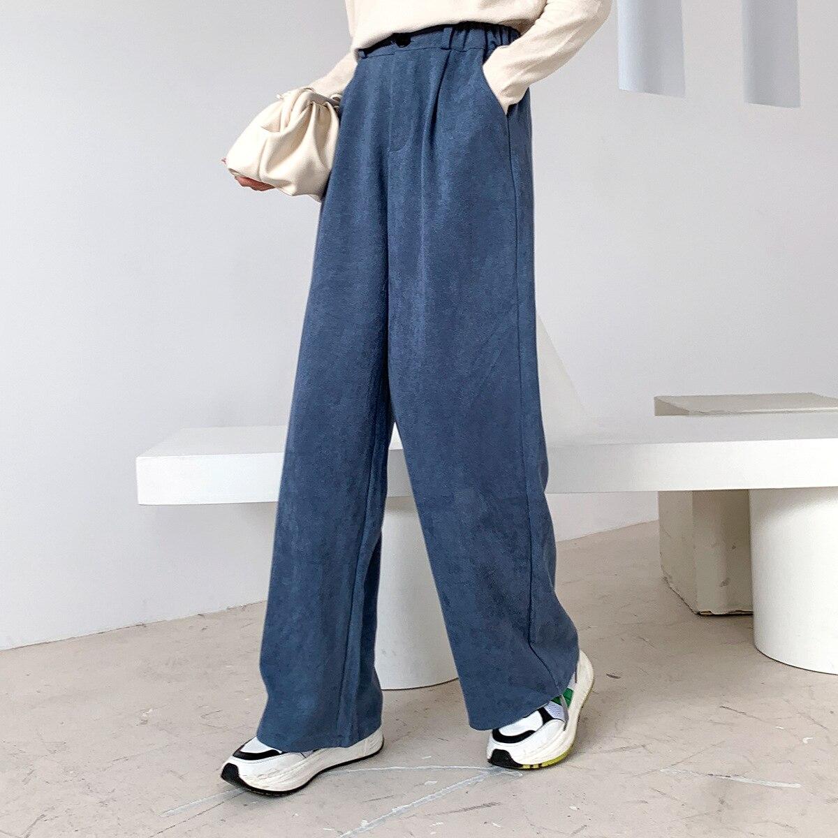 Sherhure 2020 Women Spring Pants Pure Color Stretch Waist Women Wide Leg Straight Pants Fashion Women Pants Female Trousers