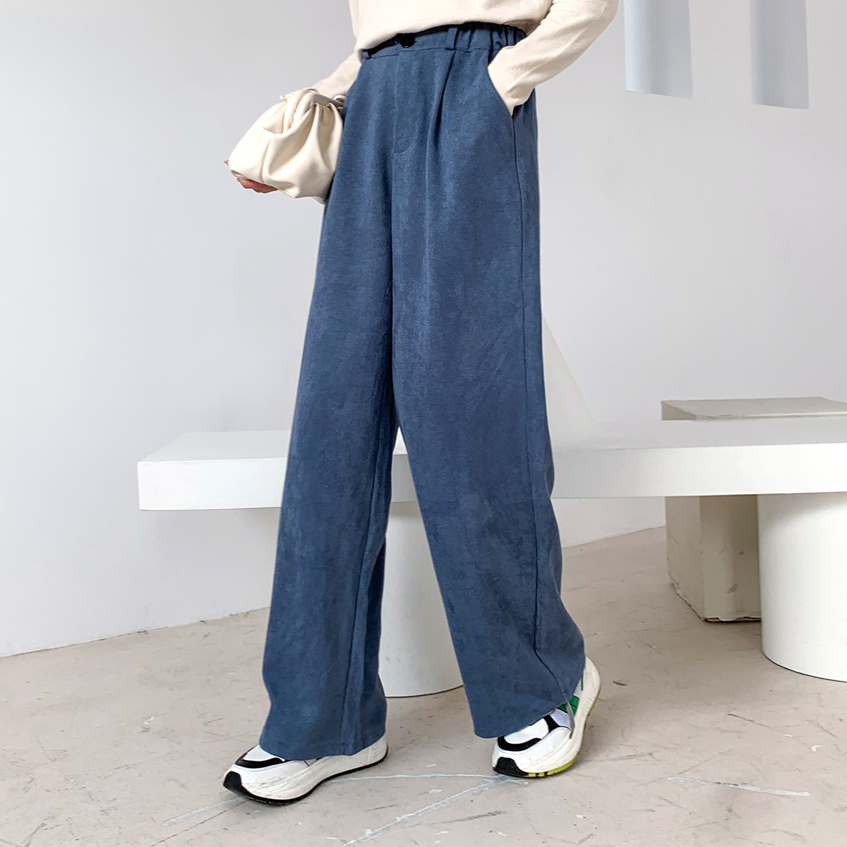 Sherhure 2020 Women Spring Pants Pure Color Stretch Waist Women Wide Leg Straight Pants Fashion Women Pants Female Trousers