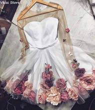 Новинка 2020 года; Коктейльное платье; Белая мини юбка с цветочным