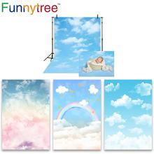 Фон для фотосъемки детей с изображением голубого неба, облака, Вечерние Декорации, Радужный фон для фотосъемки новорожденных, дня рождения, фотостудия