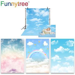 Image 1 - Funnytree niebieskie niebo fotografia baby shower tło chmura party decor Rainbow noworodka tło na urodziny photo studio photozone