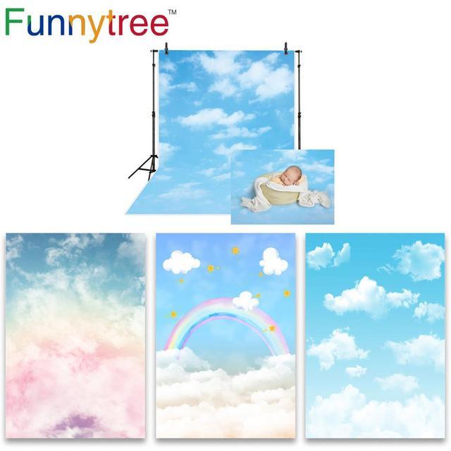 Funnytree niebieskie niebo fotografia baby shower tło chmura party decor Rainbow noworodka tło na urodziny photo studio photozone