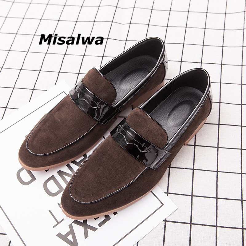 Misalwa Mens Slip on Loafers Comfortable Casual Outdoor Driving Boat Shoes 2019 Suede Leather Classical Footwear Big Size 38-47
