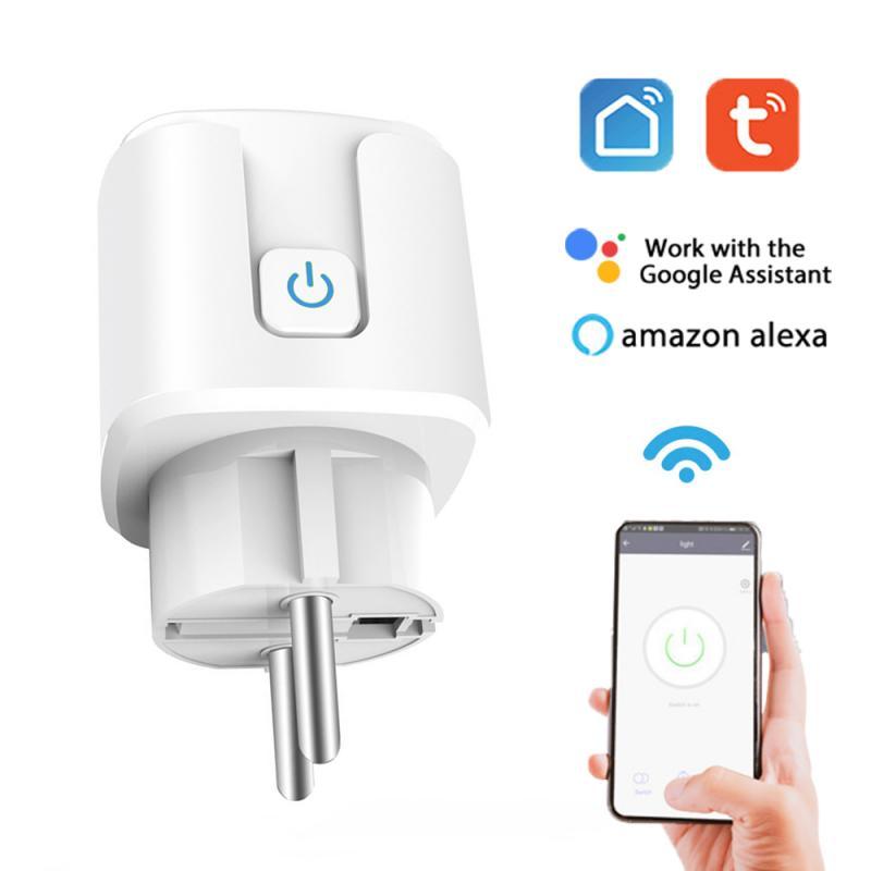 16A Wi-Fi Tuya Smart розетка ЕС Мощность монитор таймер разъем приложение Smart Life пульт дистанционного управления голосовой Управление с Alexa Google Assistant...