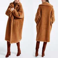 Женское пальто из искусственного меха, коллекция 2019 года, повседневная меховая куртка большого размера, толстая теплая куртка, длинное паль...