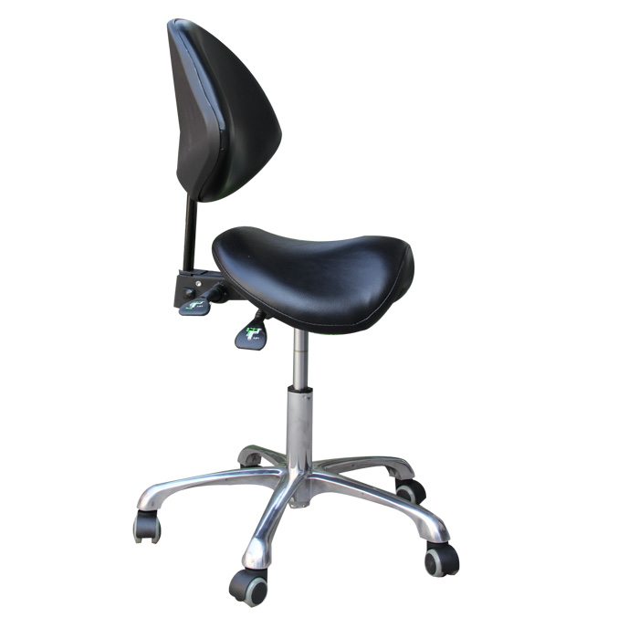 A,Standard Dental Mobile Chair Saddle Doctor's Stool PU Leather Dentist Chair Spa Rolling Stool With Back Support For Beauty