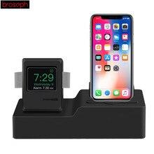 3 в 1 зарядная док-станция держателя для Airpods и iPhone и Apple Watch классический дизайн Силиконовое зарядное устройство держатель кабеля