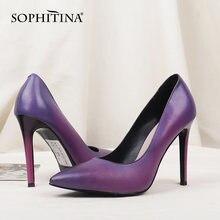 Женские туфли лодочки sophitina натуральная кожа заостренный