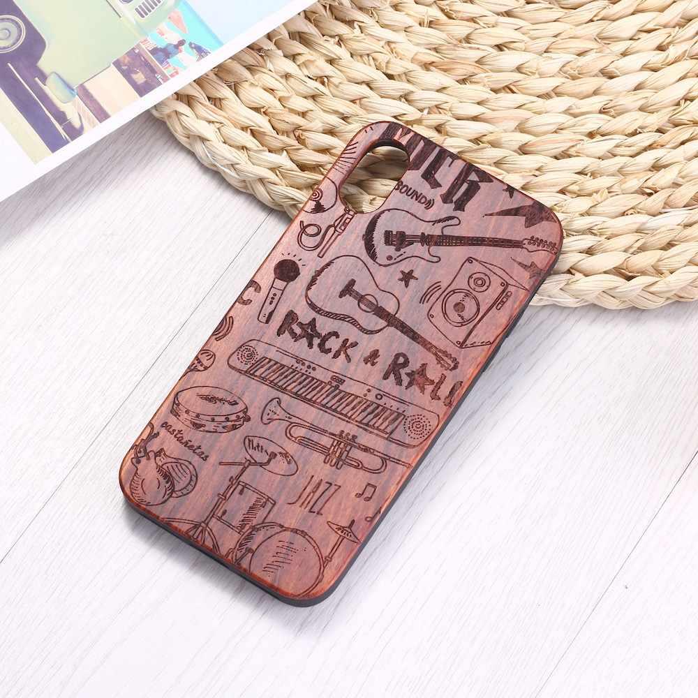 Gitara klawiatura muzyka Rock Roll grawerowane drewna przypadku telefonu Funda dla iPhone 6 6S 6Plus 7 7Plus 8 8Plus XR X XS Max 11 Pro Max
