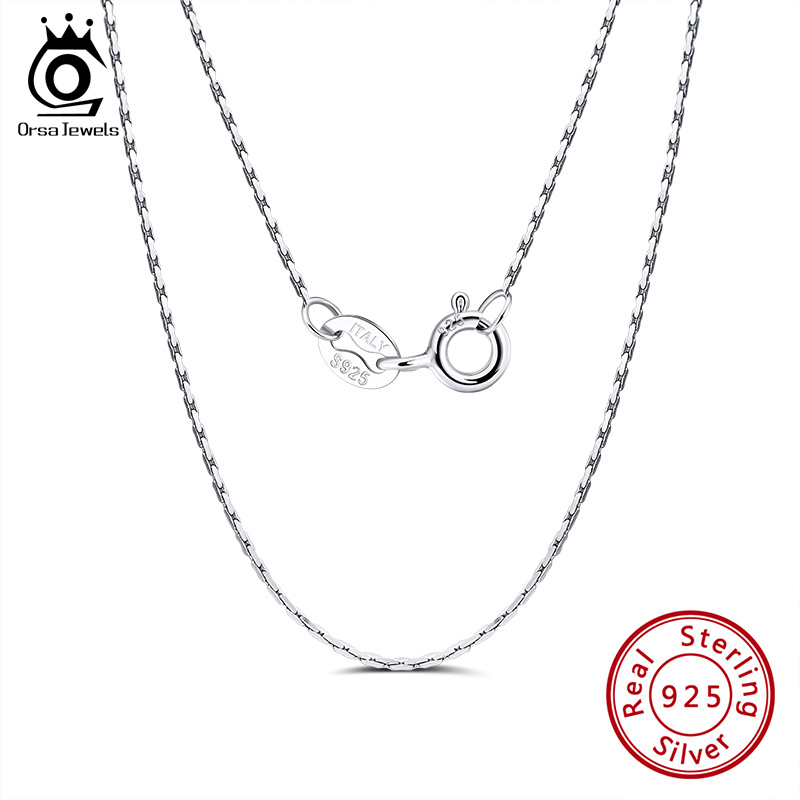 ORSA JEWELS Italian 925 Sterling Silver Bamboo Chain Necklace Sterling Silver Necklaces Chains Clavicle Chain Jewelry SC20-P