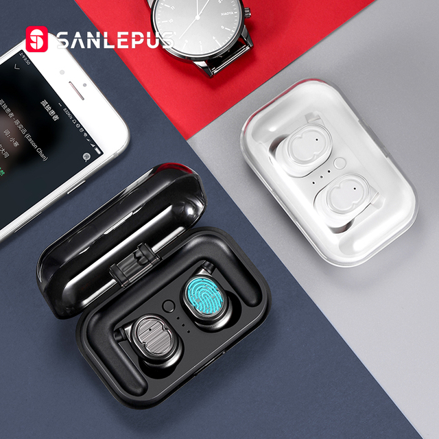 SANLEPUS tws 이어폰 무선 헤드폰 블루투스 이어폰 스포츠 헤드셋 에어 이어폰 (마이크 포함) 샤오미 Android
