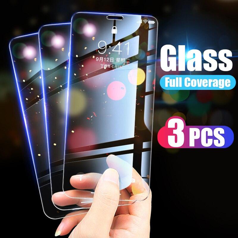 3 pçs cobertura completa de vidro temperado para iphone 7 8 6s plus protetor de tela no iphone x xr xs max se 5 5S se 2020 11 12 pro vidro