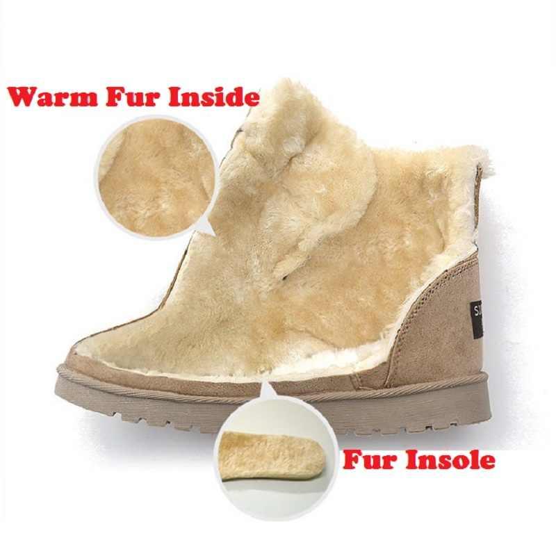 Kadın kış kar botları sıcak düz artı boyutu platformu Lace Up bayanlar kadın ayakkabısı 2019 yeni akın kürk süet yarım çizmeler kadın