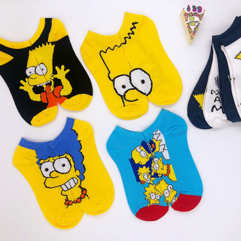 Anime Kawaii Ladies Soft Short Women Sock Cartoon Bart Women's Socks Cotton Spring Girls White Black Trendy Letter Calcetines