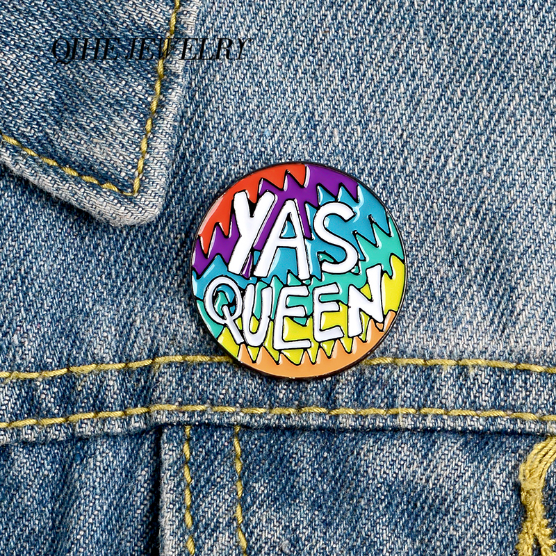 QIHE JEWELRY Round Colorful Sawtooth Pins YAS QUEEN Enamel Pins Rock Brooches Badges Denim Clothes Bag Pins Gift for Friends image
