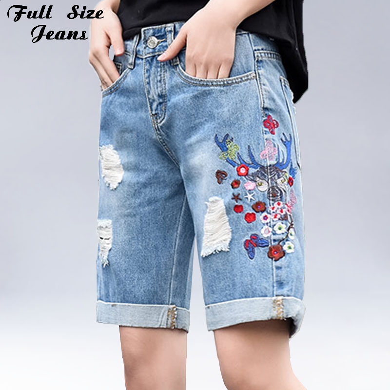 Plus Size Korean Knee Length Shorts 7XL Embroidered Cuffs Hole Ripped Denim Jeans Women Female High Waist Loose Wide Leg Pants