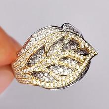 Modyle gran oferta anillos de dedo de circonita cúbica blanca con hojas de árbol de primavera brillantes de color plateado y dorado para mujer joyería DIY de moda