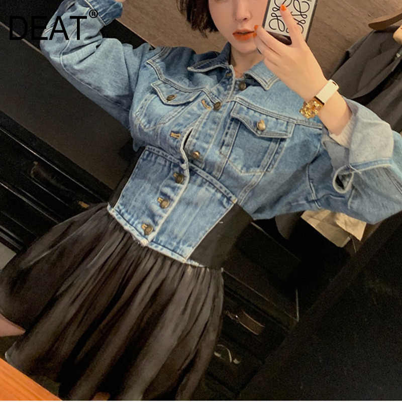 DEAT Lapel Long Sleeve Single-breasted Waist Short Denim Jacket Plus Woman Casual Simple Fashion 2019 Autumn Coat New TV674