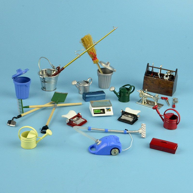 1:12 Dollhouse Miniature 25types Home Garden Yard Garage Labor Work Tools Bucket Plant Toys Match For Forest Animal Family Gift