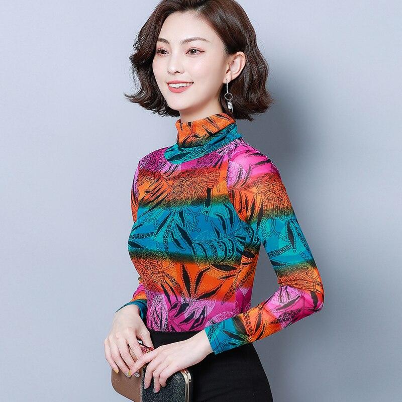 Оранжевые, синие футболки с цветочным принтом Осенняя Корейская одежда Женская водолазка с длинным рукавом цветочный принт марлевые сетча...