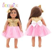 Золото Цвет с блестками бантом для куклы юбка со шпилькой подходит