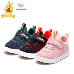 Original Disney Winnie The Pooh Spring Breathable Kids Boys Net Shoes Girls Anti-slippery Sneakers With Light Running Shoes X01