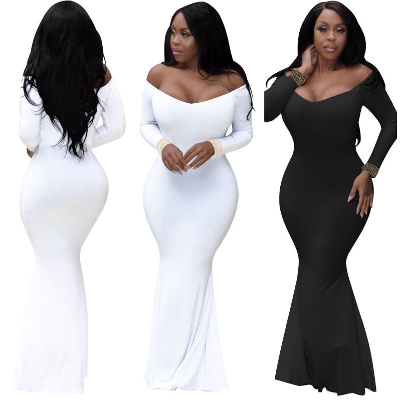 Plus Size   Evening     Dress   Elasticity Formal   Dresses   Black Girl robe de soiree longue 2019 Long   Evening   Gowns With Sleeves abiye