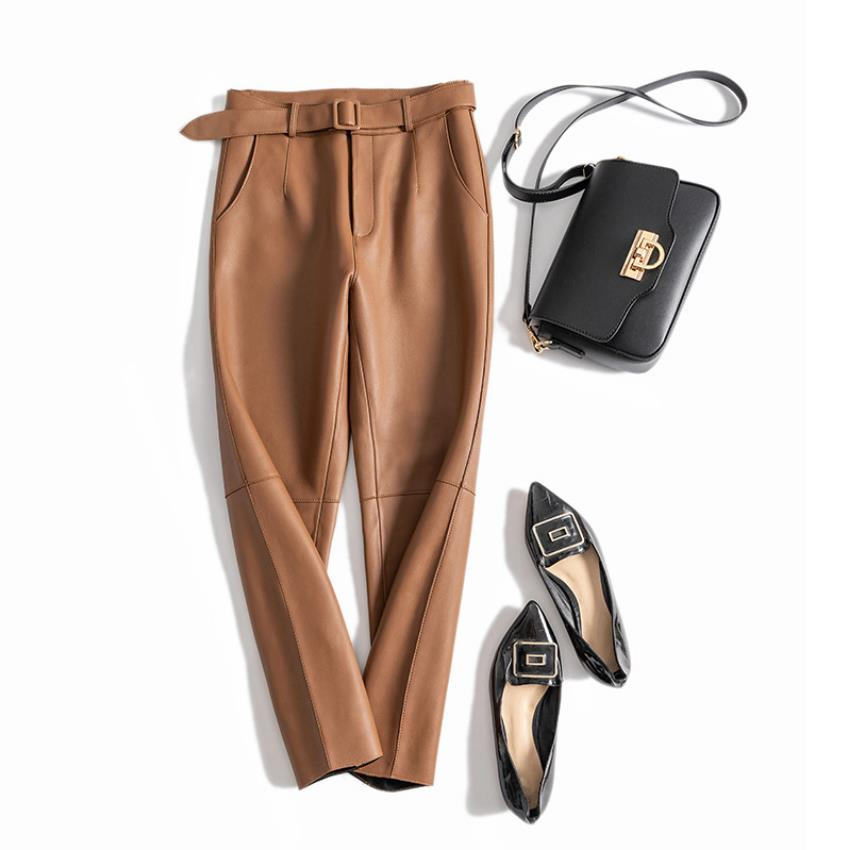 England Style Great Quality Real Sheep Leather Ankle Length Pants Spring Female High Waist Was Thin Pencil Leather Pants F999